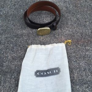 "Coach 31"" Brown Leather Belt w/ Solid Brass Buckle"